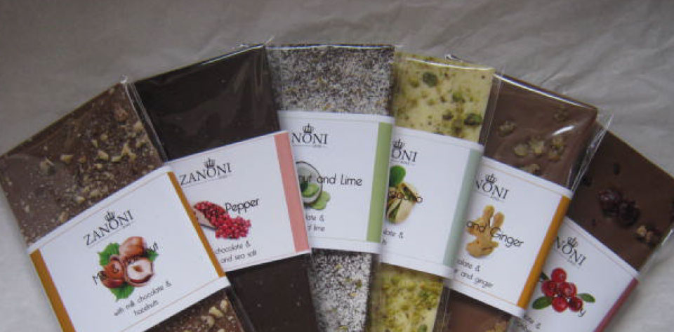 Zanoni chocolate in 11 different flavours, locally made